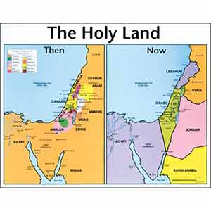 Holy Land Then and Now Relief Map Wall Chart