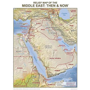 Middle East Relief Map Wall Chart