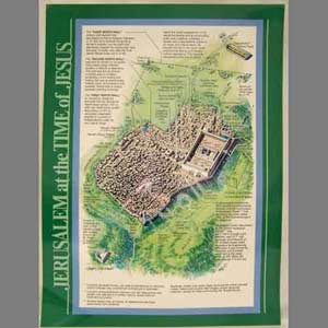 Jerusalem Time of Jesus Map Wall Chart