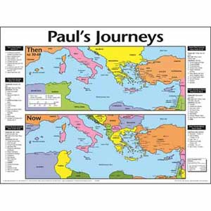 Paul's Journeys: Then and Now Wall Chart