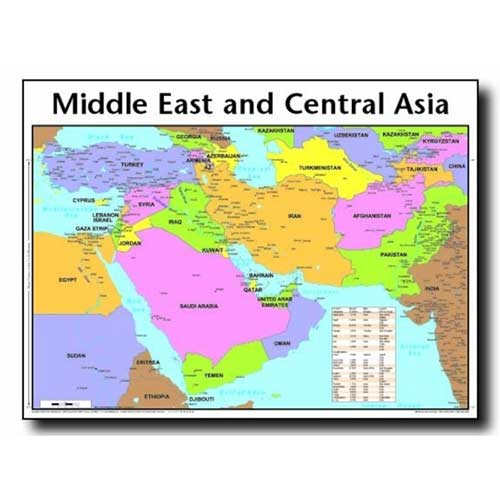 Middle east central asia wall chart rose charts and books middle east central asia wall chart loading zoom sciox Images